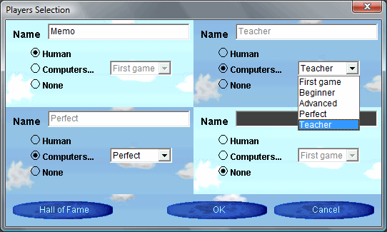 Players dialog box